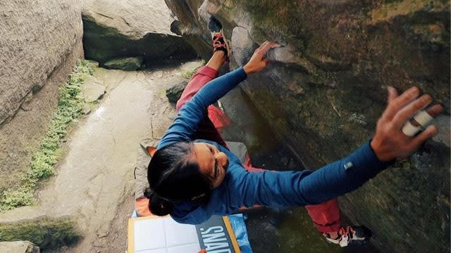 Sophie Cheng climbing outside