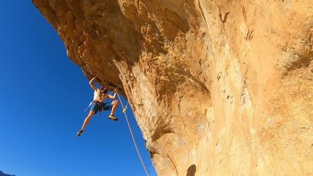 Brett Ffinch from the Climbing Nomads sport climbing outdoors