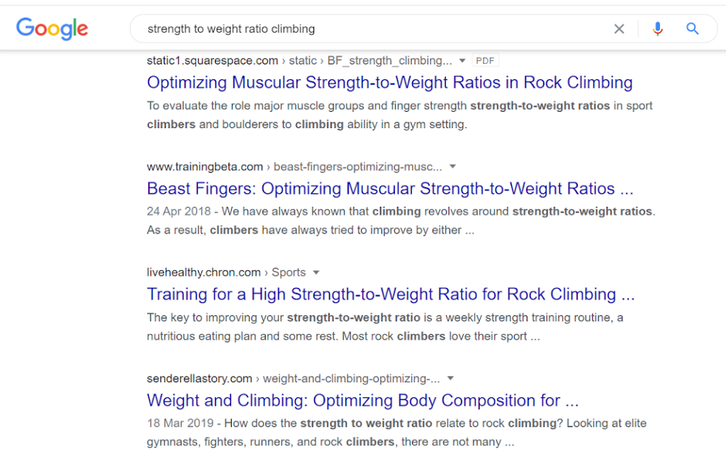 google search results for the term 'strength to weight ratio in climbing'