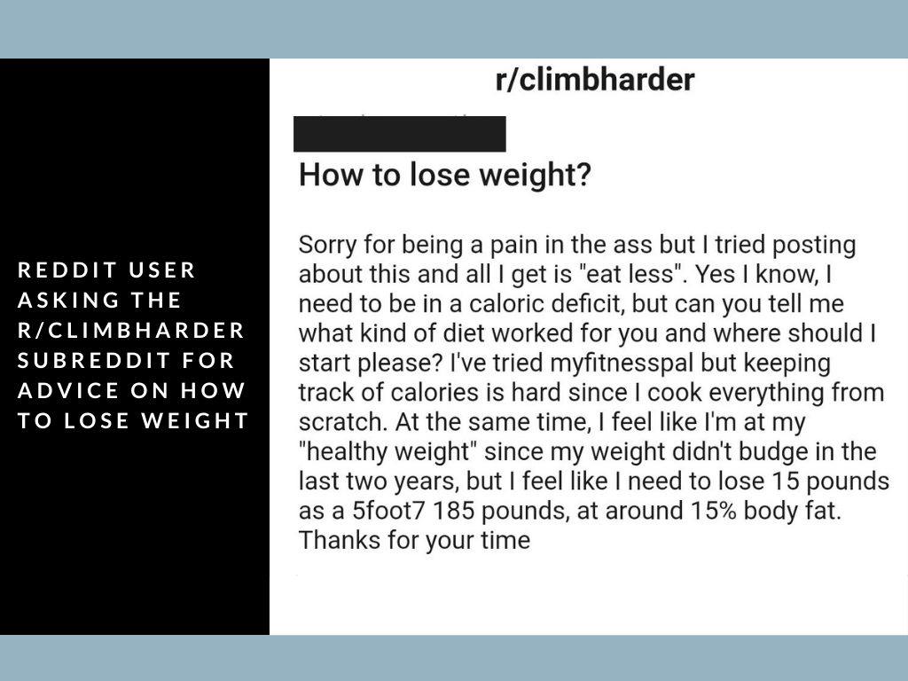 comment asking 'how to lose weight' on the subreddit r/climbharder
