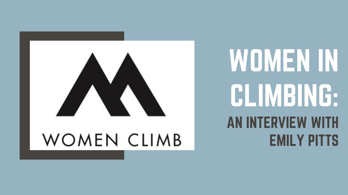 womenclimb logo against a blue background