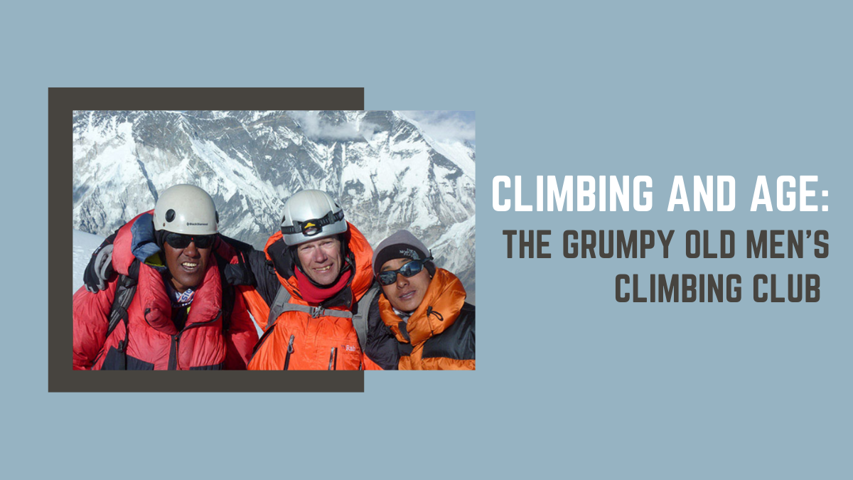 three climbers on an expedition to Ama Dablam, Nepal against a blue background