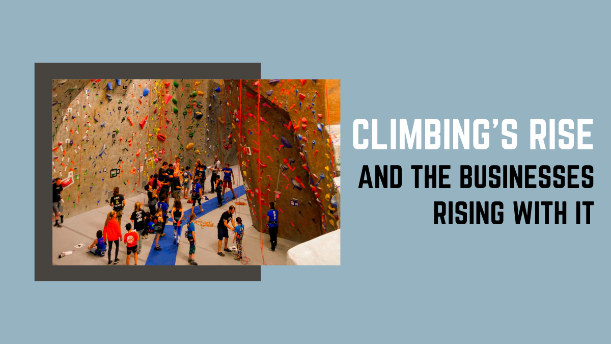 people at a climbing wall against a blue image with the text climbing's rise