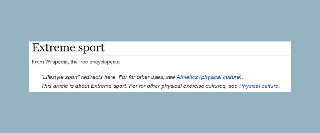 the wikipedia definition of extreme sport and lifestyle sport