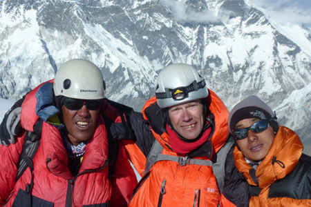 three climbers on an expedition to Ama Dablam, Nepal